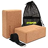 GYSPOR Cork Yoga Blocks 2 Pack Set with Yoga Strap and Sports Bag, Non-Slip Surface, High Density Eco-Friendly Natural Cork Yoga Block for Pilates, Meditation, Exercise (Cork)